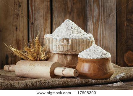 Natural, Organic, Wholegrain Wheat Meal In A Paper Bag