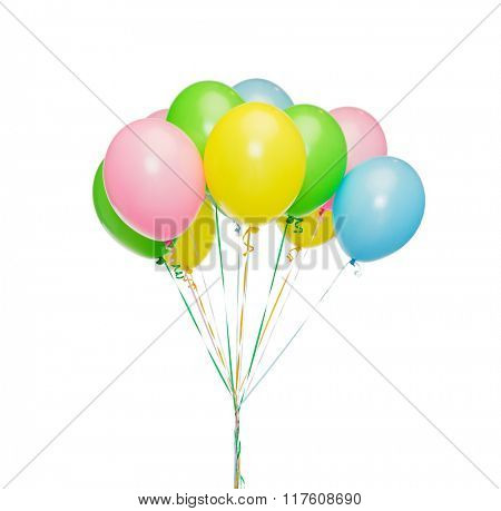 holidays, birthday, party and decoration concept - bunch of inflated colorful helium balloons