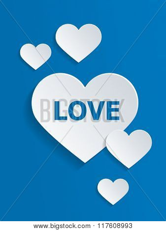 White Hearts with Love Text Against Blue Background for Valentines Day Concept. 3d Rendering.