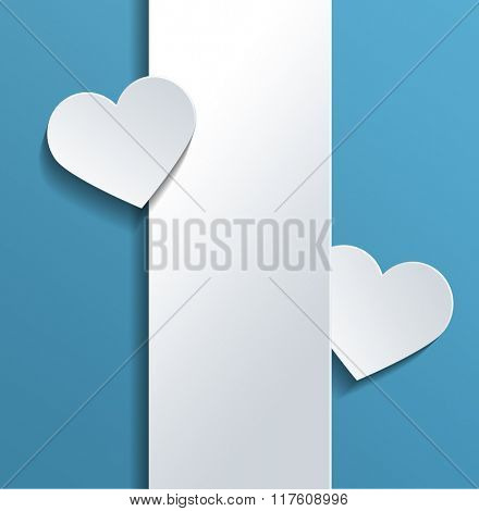 White Empty Vertical Banner with Heart Shapes and Copy Space Against Sky Blue Background for Valentines Day Concept. 3d Rendering.