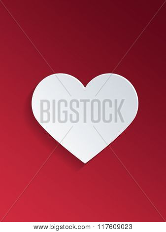 Plain White Heart Shape Against Red Background for Valentines Day Concept. 3d Rendering.