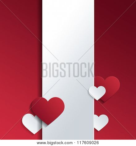White Banner with Hearts and Copy Space Against Red Background for Valentines Day Concept Design. 3d Rendering.