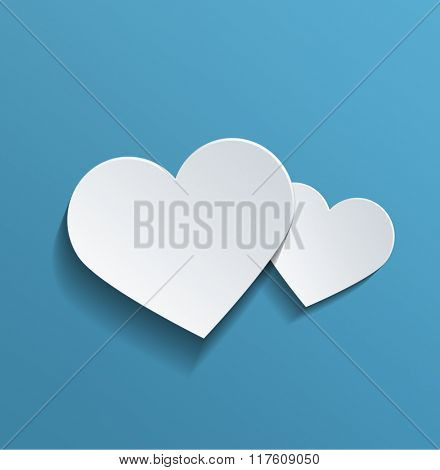 Two Conceptual White Heart Shapes with Copy Space Against Sky Blue Background for Valentines Day. 3d Rendering.