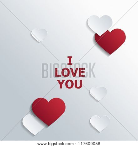 Conceptual I love You Texts with Red and White Heart Shapes on the Sides for Valentines Day. 3d Rendering.
