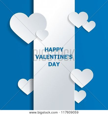 White Banner with Heart Shapes and Love Text Against Blue Background for Valentines Day Concept. 3d Rendering.