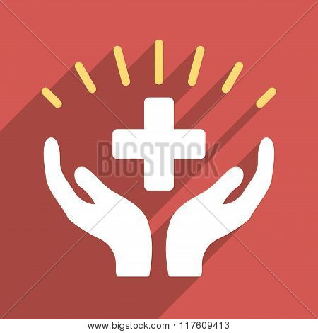 Medical Prosperity Flat Square Icon with Long Shadow