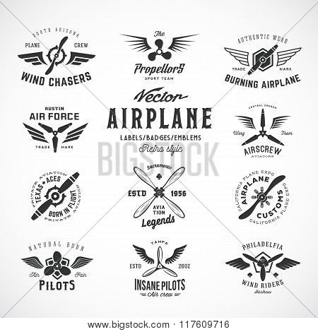 Vintage Vector Airplane Labels Set with Retro Typography. Isolated