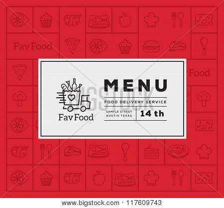 Favorite Food Delivery Abstract Vector Logo And Menu Cover with Line Style Icon Pattern.