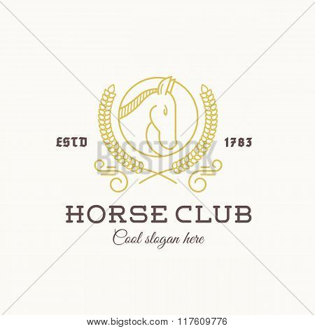 Horse Club Abstract Vector Logo Template Line Style with Typography. Stallion Head in a Circle. Laur
