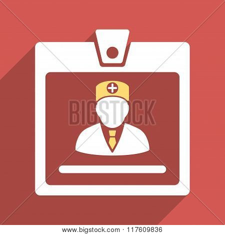 Doctor Badge Flat Square Icon with Long Shadow