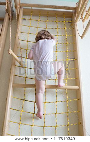 Baby Toddler Climbing Up Stairs.