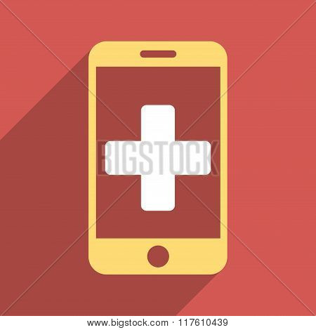 Online Help Flat Square Icon with Long Shadow