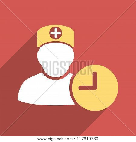 Doctor Hours Flat Square Icon with Long Shadow