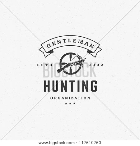 Hunting Club Logo Template.  Riffle Silhouette Isolated On White Background. Vector object for Labels, Badges, Logos and other Design. Target Logo, Crossbow Logo, Retro Logo, Hunters Logo.