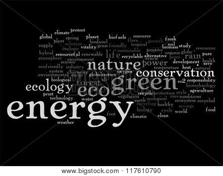 Vector concept or conceptual abstract green ecology or energy and conservation word cloud text isolated on background