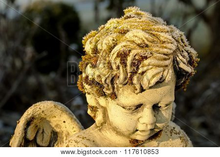 Closeup of small white ice crystals forming on green moss on a cute stone angel sculpture