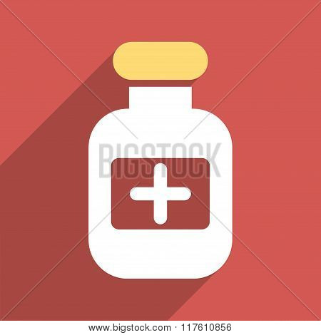 Drugs Bottle Flat Square Icon with Long Shadow