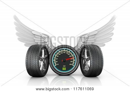 Automotive Wheel With Speedometer And Wings On A White Background.