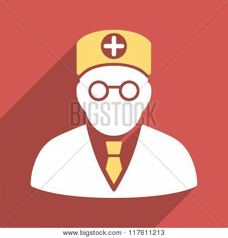 Head Physician Flat Square Icon with Long Shadow