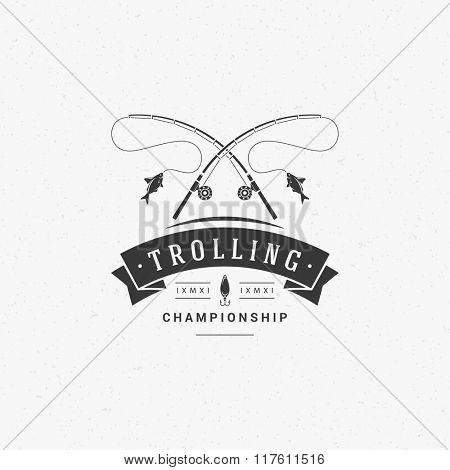 Fishing Club Logo Template. Two Fish and Hook Silhouette Isolated On White Background. Vector object for Labels, Badges, Logos. Fish Logo, Fisher Logo, Fish Silhouette, Hook Silhouette, Spinning Logo.