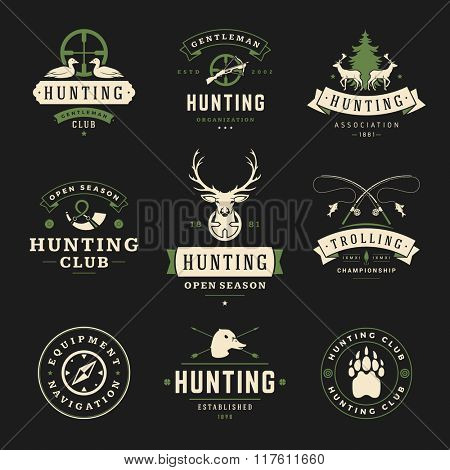 Set of Hunting and Fishing Labels, Badges, Logos Vector Design Elements Vintage Style. Deer Head, Hunter Weapons. Advertising Hunter Equipment. Fishing Logo, Deer Logo, Duck Logo, Camp Logo.