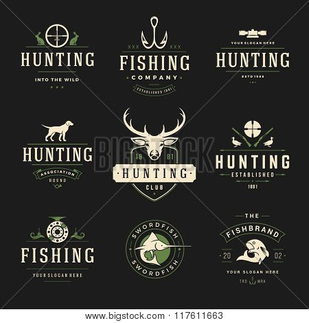 Set of Hunting and Fishing Labels, Badges, Logos Vector Design Elements Vintage Style. Deer Head, Hunter Weapons. Advertising Hunter Equipment. Fishing Logo, Deer Logo, Fish Logo, Dog Logo.