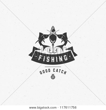 Fishing Club Logo Template. Two Fish and Hook Silhouette Isolated On White Background. Vector object for Labels, Badges, Logos. Fish Logo, Fisher Logo, Fish Silhouette, Hook Silhouette.