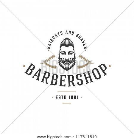 Barber Shop Logo Vector Template. For Label, Badge, Sign or Advertising. Barber shop Logo, Hipster Man, Hairdresser Logo. Hipster Silhouette. Hairstyle Man with Mustache and Beard.