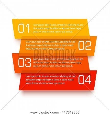 Vector infographic template. Set of transparent plastic banners. Translucent material design with numbers and text placeholders. Realistic origami paper craft.