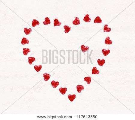 Valentine's Heart Made Of Little Red Hearts, Valentine's Day, Lovely Illustration