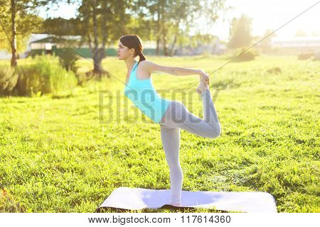 Young Woman Doing Yoga Stretching Exercises On Grass In Sunny Summer Day, Profile View