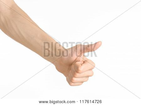 Hand Gestures Theme: The Human Hand Shows Gestures Isolated On White Background In Studio