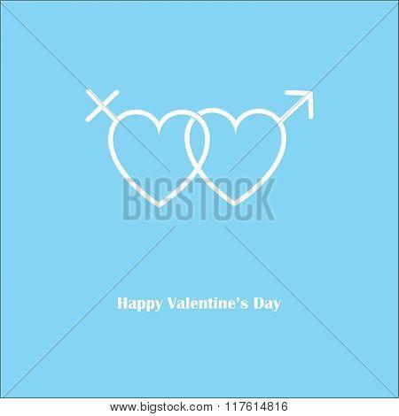 Happy Valentine's Love Gender Blue Card