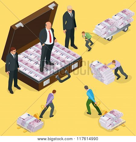 Debts on loans. People gives back debts on loan. Five hundred euro banknote. Flat 3d vector isometri