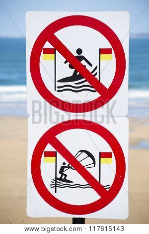 warning signs for surfers in ballybunion on the wild atlantic way in ireland