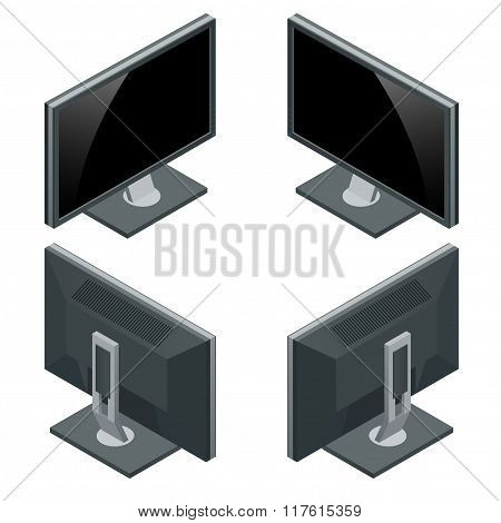 Computer monitor, display isolated on white. Flat 3d Vector isometric illustration