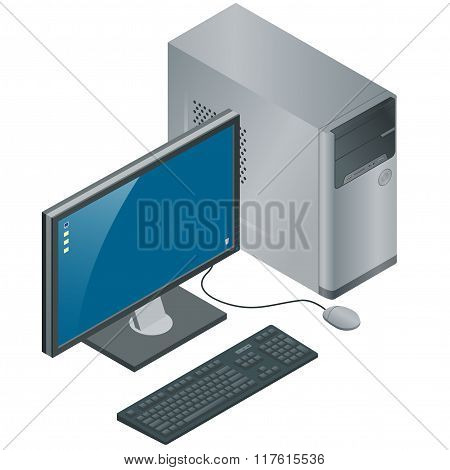 Computer Case with Monitor, Keyboard and Mouse, isolated on white background, pc, flat 3d vector iso