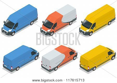 Commercial vehicle, van for the carriage of cargo flat 3d vector isometric illustration isolated on