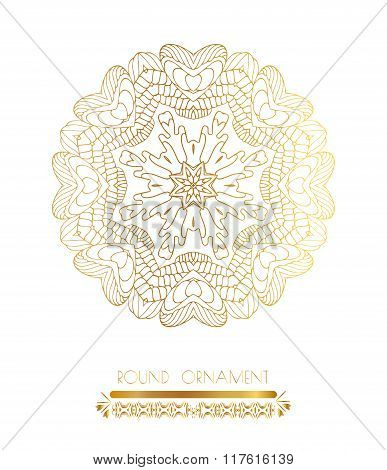 Traditional golden decor on white background.