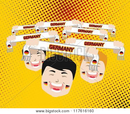 Fans And Scarves - Vector Illustration