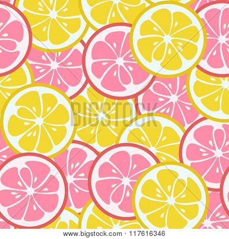 Seamless pattern with pink and yellow citrus