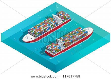 Container ship, Tanker or Cargo ship with containers icon. Flat 3d isometric high quality transport.