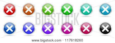 cancel colorful web icons set