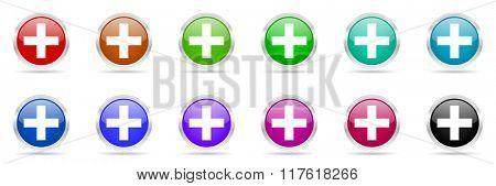 plus colorful web icons set