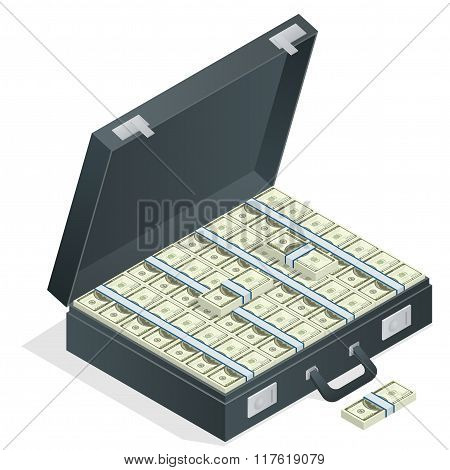 Case full of money on white background. Lot of money in a suitcase. Flat 3d vector isometric illustr