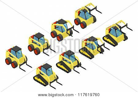 Collection of small yellow loaders