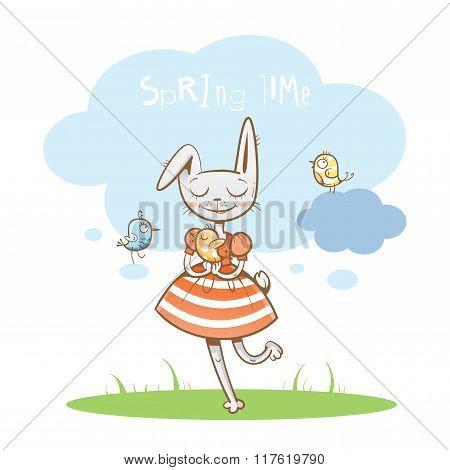 Spring Postcard With Rabbit.