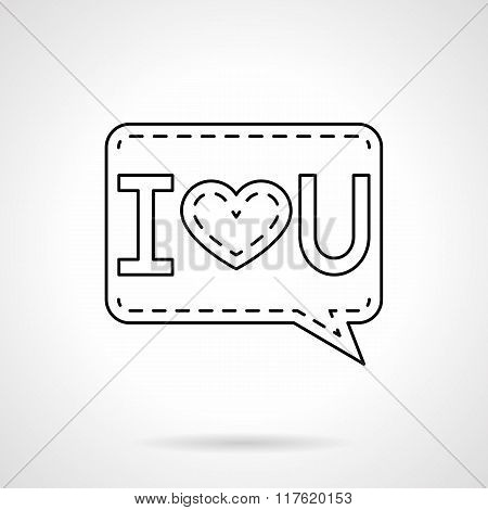 I Love You black flat line vector icon