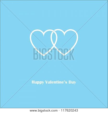 Happy Valentine's Love Blue Card With Two Harts