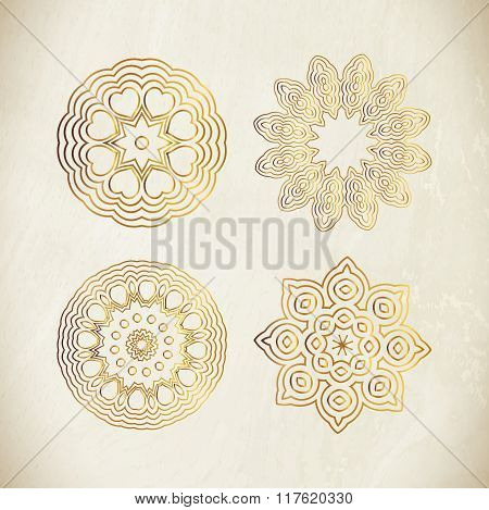 Set of golden round frames.